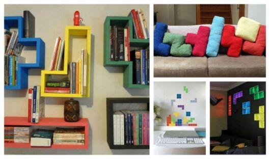 NIchos coloridos, almofadas com formatos divertidos em cores de azul, vermelho, verde.