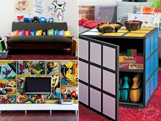 Mesa de centro cubo mágico/ almofadas coloridas/papel de parede de super heróis.