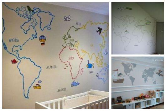 Montagem com exemplos de papel de parede com mapa.