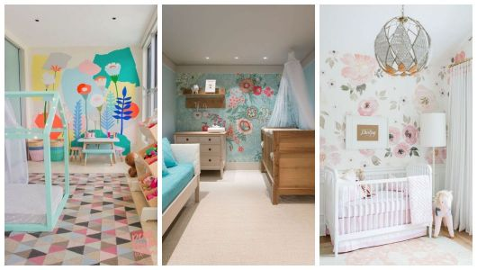 Montagem com diferentes tipos de papéis de parede com flores.