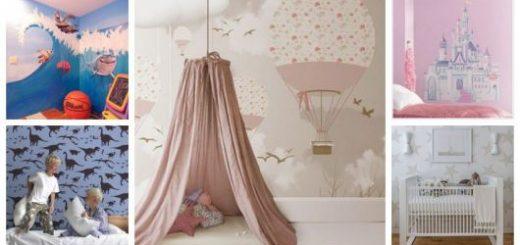 Montagem com cinco fotos de papel de parede para quarto infantil.