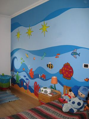 Papel de parede azul com animais.