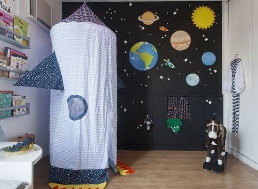 Papel de parede preto com planetas do Sistema Solar.