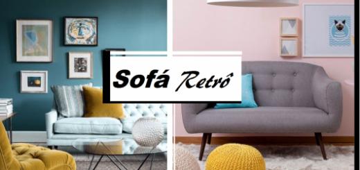 Ilustraçao capa do post sobre sofá retrô com dois sofás nas cores branco e cinza.