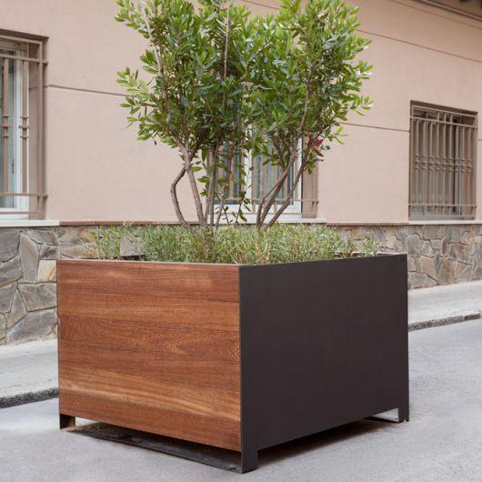 Vaso de madeira grande marrom com verniz e árvore verde plantada.