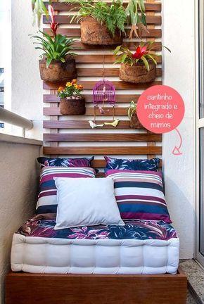 Almofada futon na varanda.