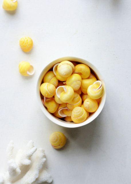 Conchas amarelas em uma xícara.