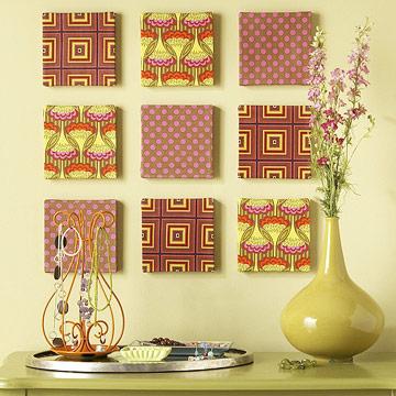 Quadros decorativos feitos com tecido e isopor.