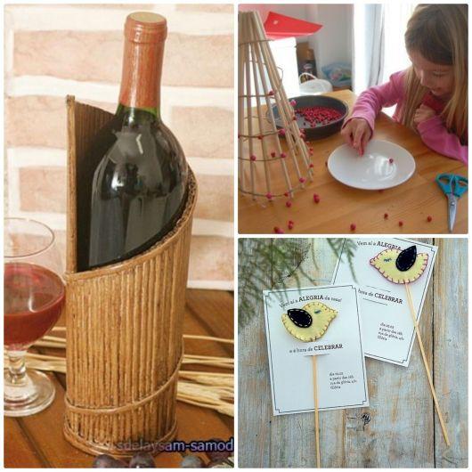 Pota bebida, árvore de natal e convite feitos com palito de churrasco.