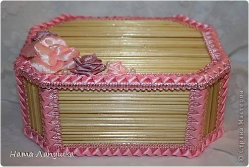 Caixa feita com palito de churrasco.