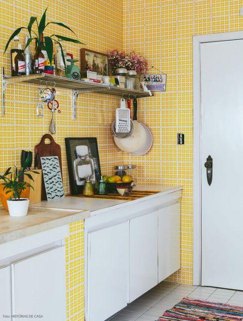 azulejo amarelo cozinha