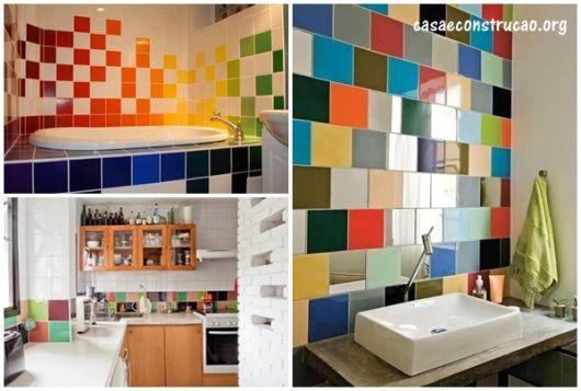 ideias com azulejos coloridos
