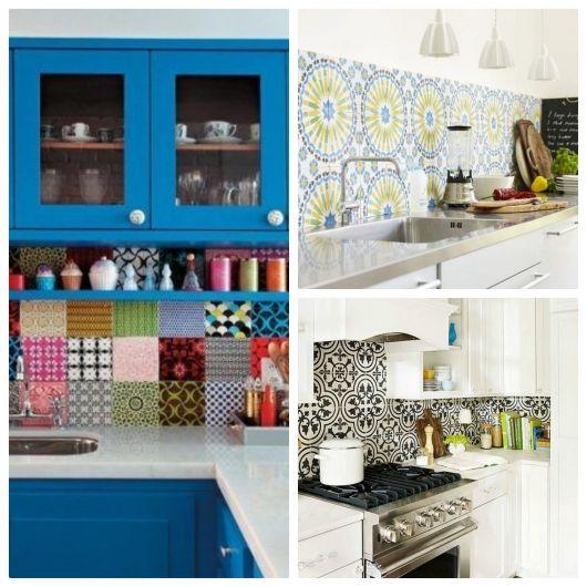 Cozinhas com azulejos retrôs diferentes,