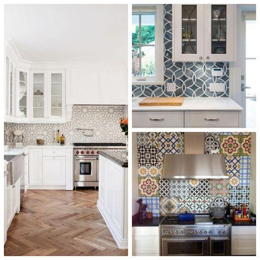 Cozinhas com diferentes tons de azulejo retrô.