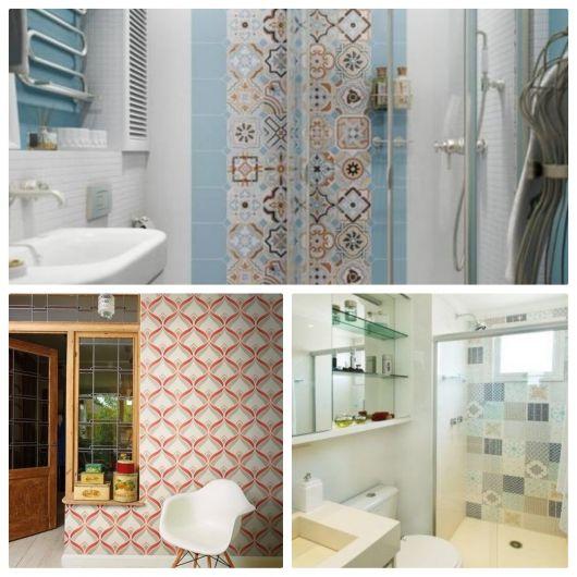 Diversos ambientes com azulejo retrô.