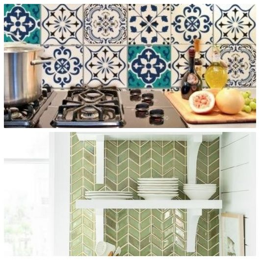 Azulejo retrô em duas cozinhas.