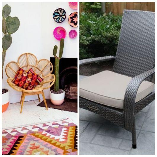 Cadeiras de vime com almofada.