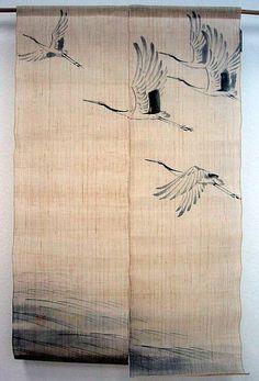 cortinas japonesas com pássaros