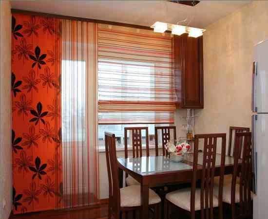 cortinas japonesas na janela da cozinha
