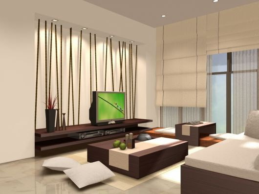 cortinas japonesas em sala de TV