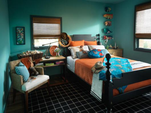 decoração de quarto masculino azul