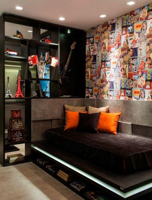 decoração de quarto masculino moderna