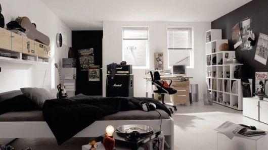decoração de quarto masculino preto
