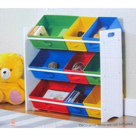 estante para brinquedos colorida