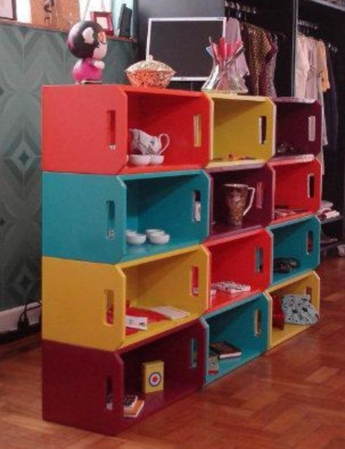 estante para brinquedos de caixote