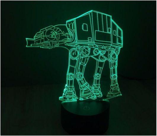 Luminária em 3D verde.