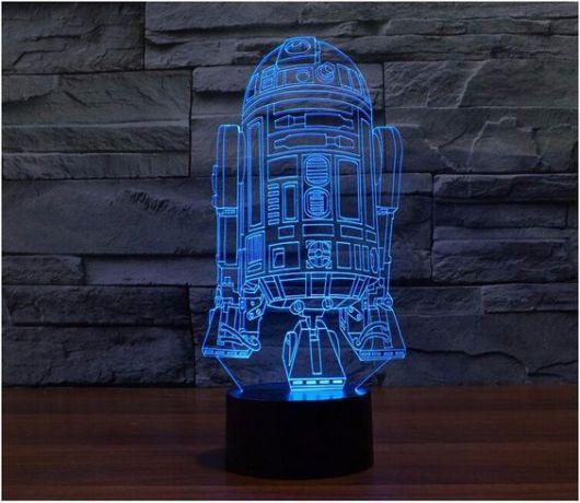 Luminária azul em 3D do Star Wars.