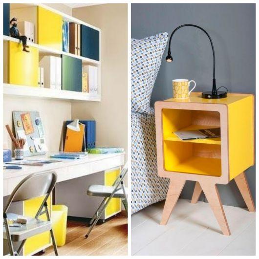 Móveis amarelos para o quarto.
