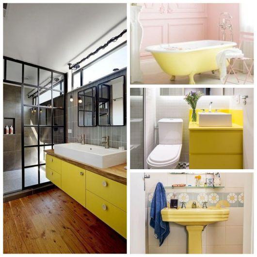 Móveis amarelos para o banheiro.