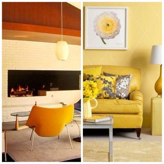 Sala com móveis amarelos.