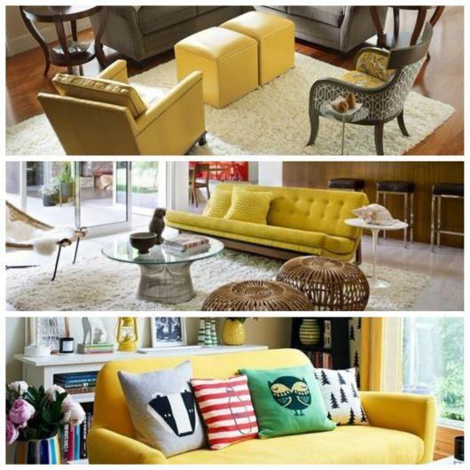 Sofás e poltronas amarelas.