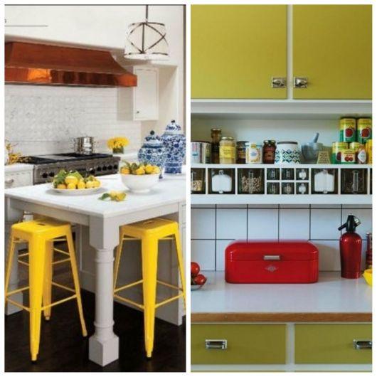 Cozinha com armários amarelos.