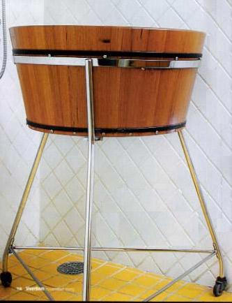 ofurô de madeira com suporte