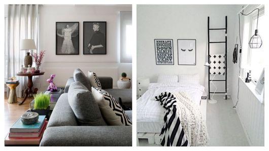 Quadros minimalistas em preto e branco.