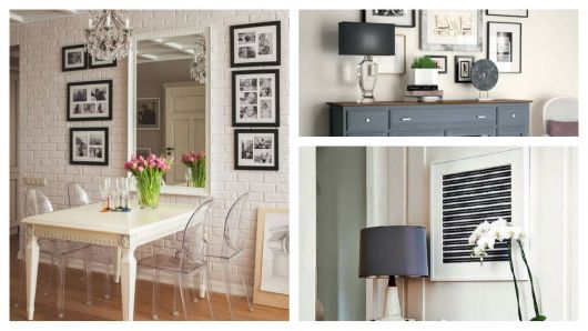Diversos quadros minimalistas em salas de estar.