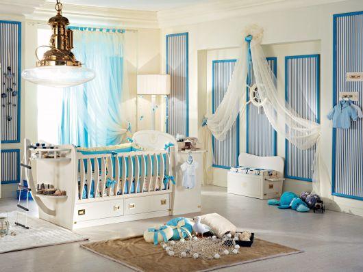 quarto de bebê marinheiro branco e azul bebê