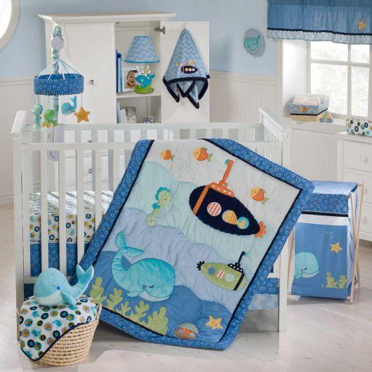 quarto de bebê marinheiro azul e branco