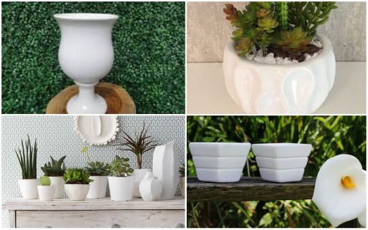 Vasos de cerâmica brancos.
