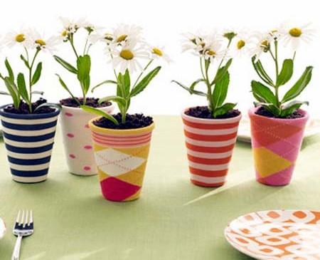 Vaso de cerâmica com plantas.