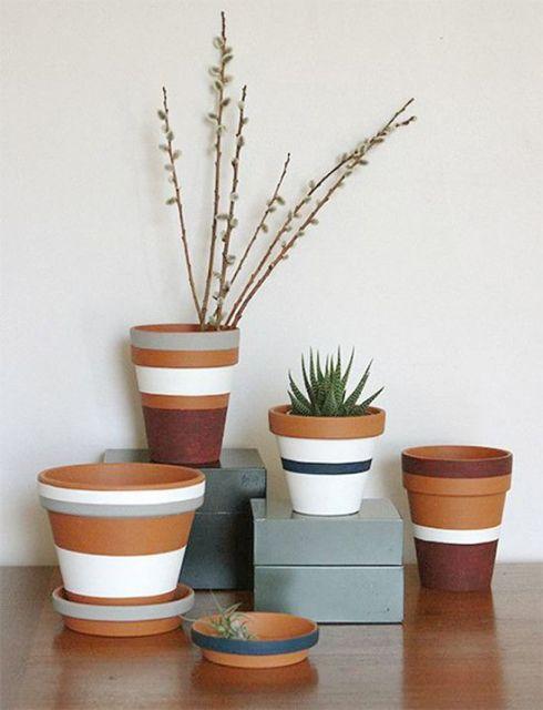 Vaso de cerâmica com plantas diferentes.