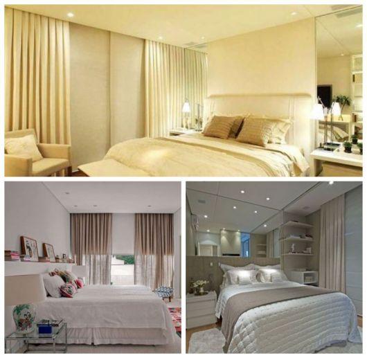 Montagem com três imagens de cortinas com blecaute em quartos de casal.