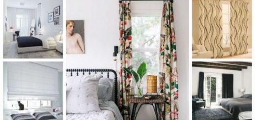 Montagem com cinco imagens com cortinas para quarto de casal.