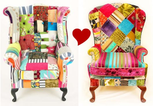 Modelos de poltronas estampadas nas cores rosa, vermelho, azul, verde, amarelo e branco.