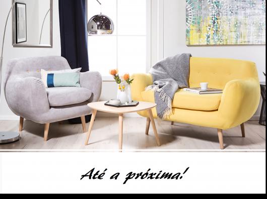 Ilustração final do post com fotos de poltronas decorativas nas cores amarelo e cinza.