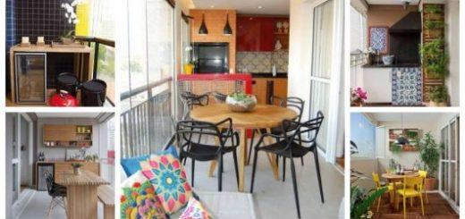 Montagem com diferentes estilos de varanda gourmet pequena.