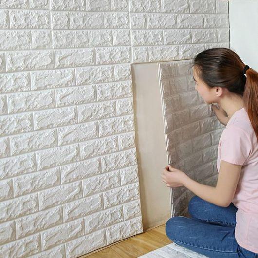 Adesivo de parede 3D tijolo.